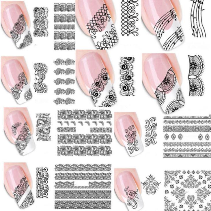 Ажурные наклейки на ногти