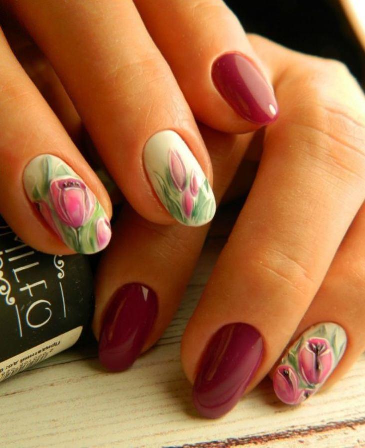 Дизайн ногтей красный с синим Красный дизайн ногтей 91 фото красивого дизайна