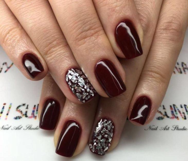 Марсала на ногтях фото 2018