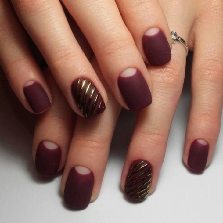 Ногти марсала дизайн