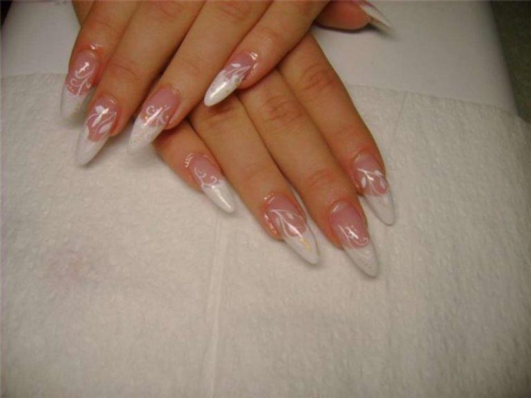 Красивые нарощенные ногти белый френч