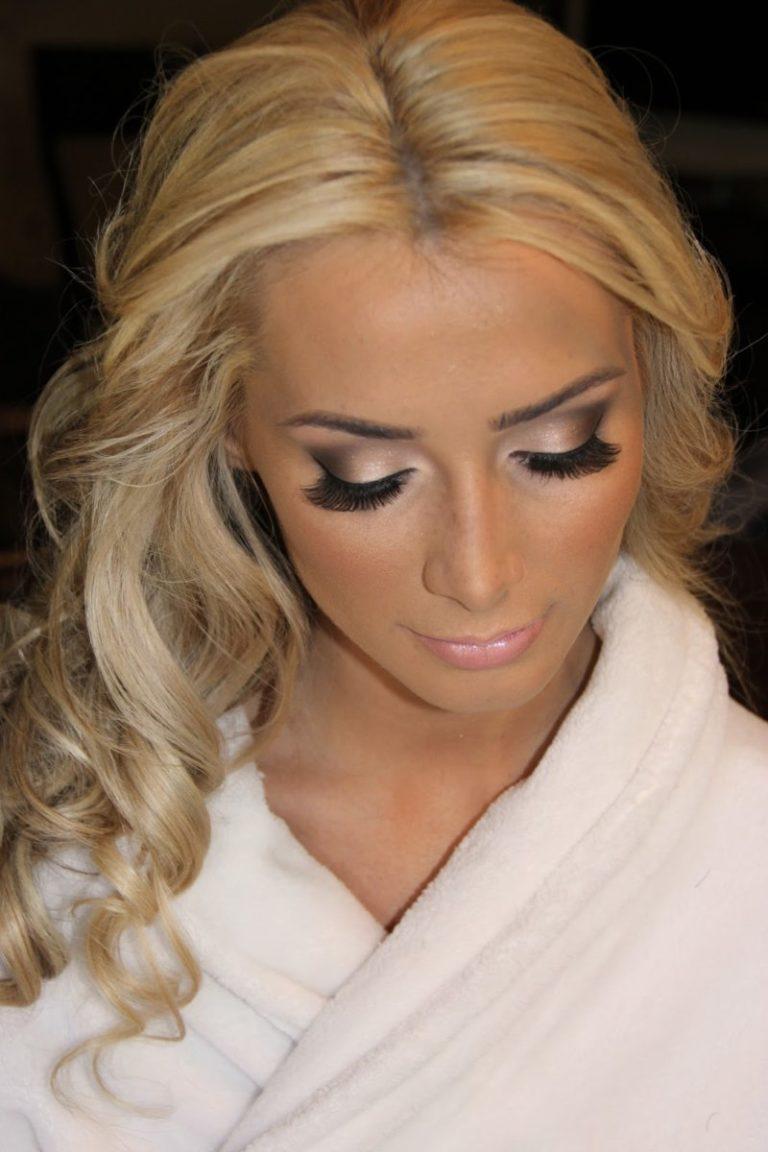 Макияж на свадьбу для блондинок с карими глазами 109