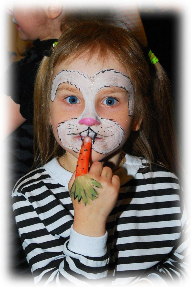 Как нарисовать зайчика на лице