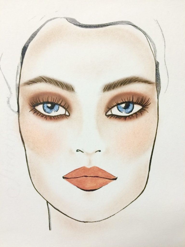 Neutral makeup for blue eyes
