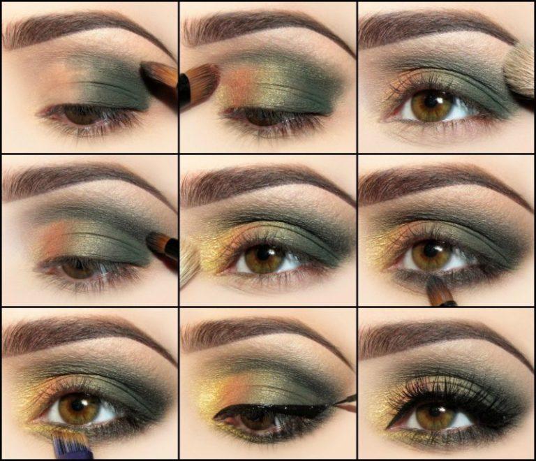 Как сделать красивый макияж с зелеными тенями