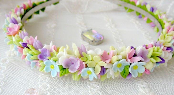 Ободок из искусственных цветов своими руками фото 567