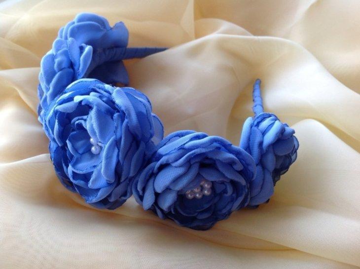 Цветы из ткани на ободки своими руками