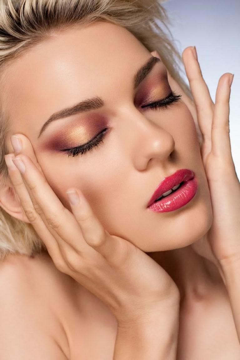 Фото макияжа под коралловое платье