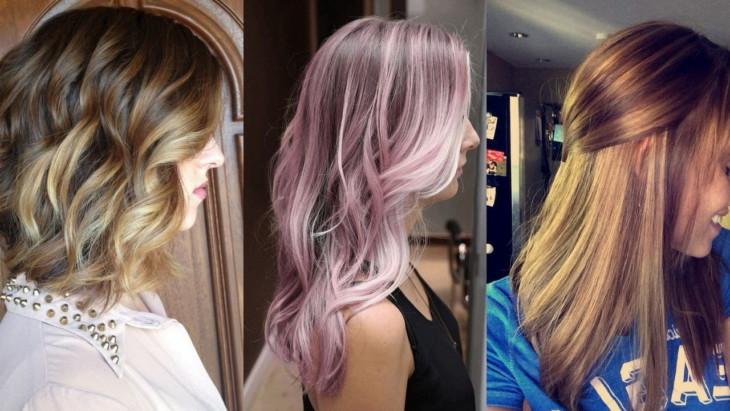 Мелирование на темные волосы розовым цветом