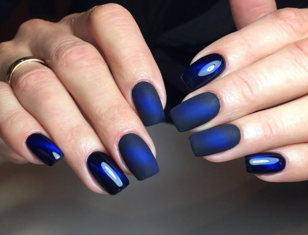 маникюр синий шеллак фото