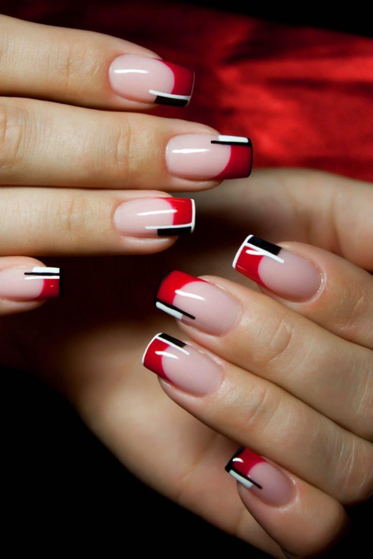 Красный френч на ногтях 2017