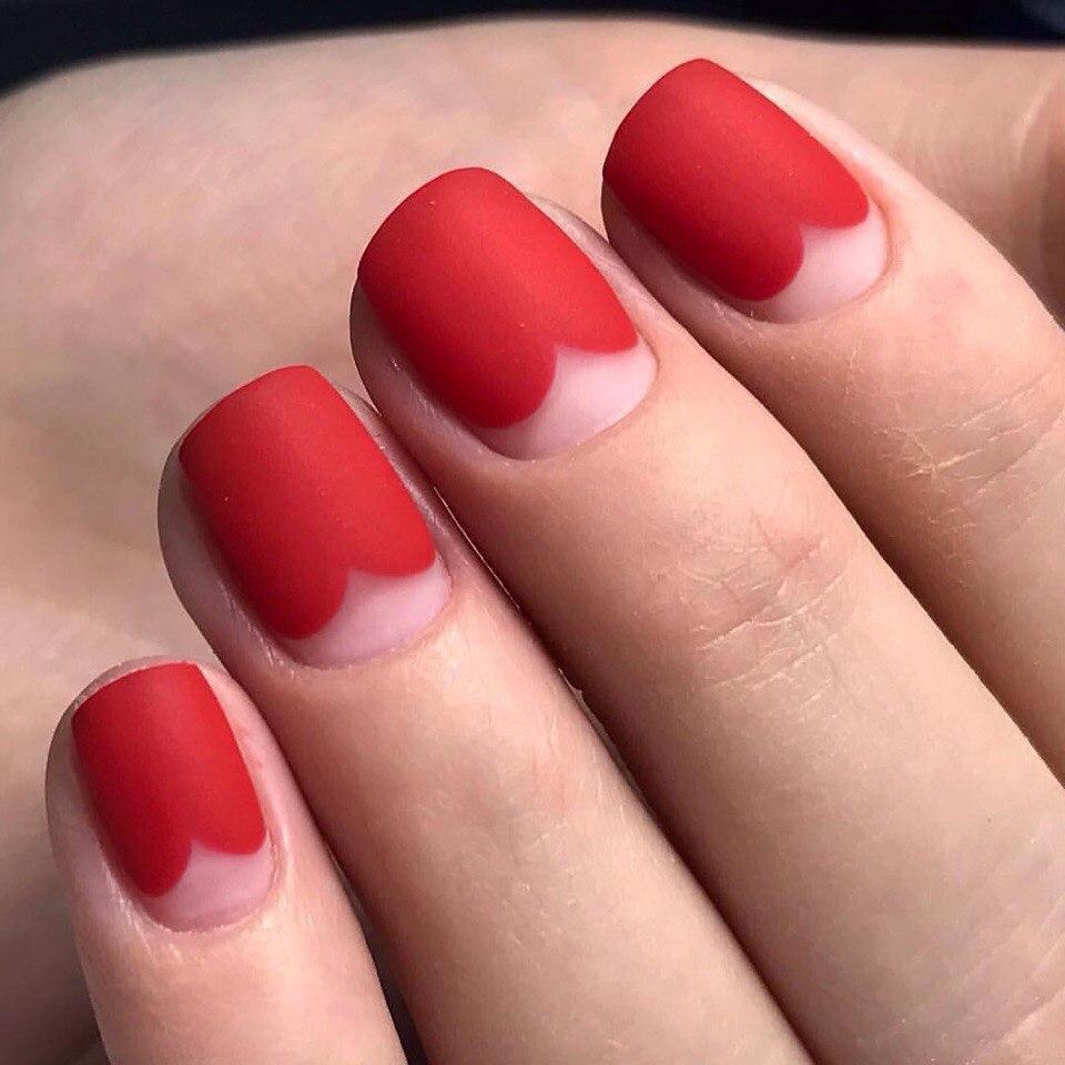 Красный маникюр 2017 модные тенденции фото на короткие ногти