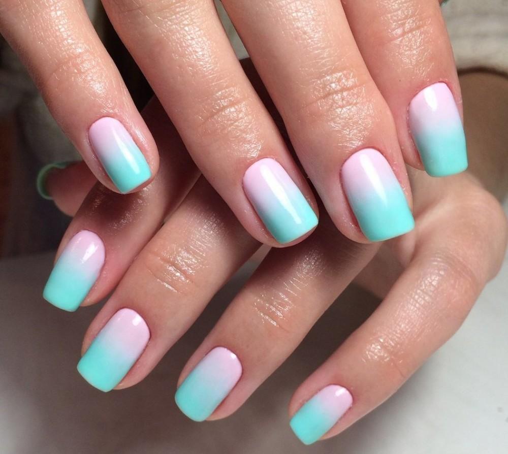 Нарощенные ногти дизайн омбре 67