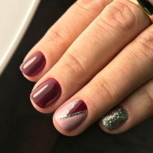 маникюр бордо с серебром