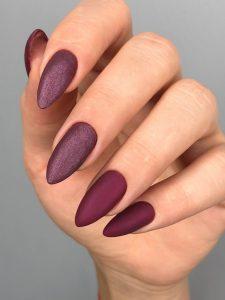 матовые бордовые ногти фото