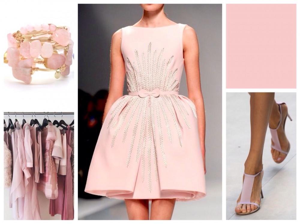 пастельное розовое с бежевым платье