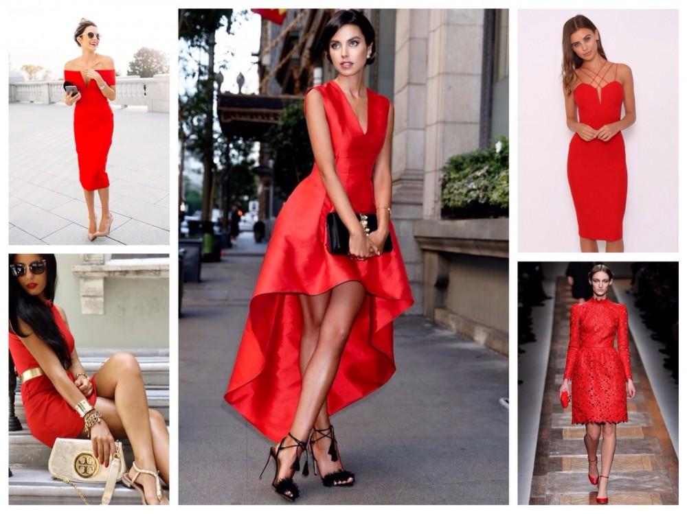 метализированное красное платье
