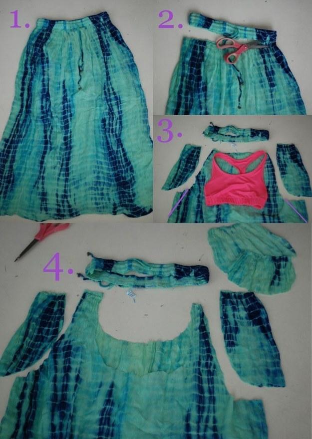 пляжное платье из старой юбки