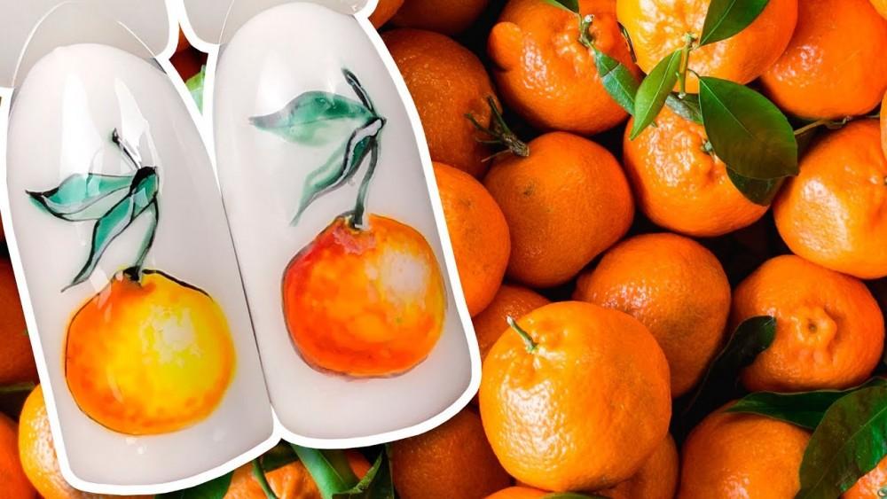 новогодний маникюр с мандаринами